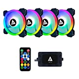Apevia TL4-RGB Twilight 120mm Silent Dual-Ring Addressable RGB Color Changing LED Fan for Gaming with Remote Control, 28x LEDs & 8X Anti-Vibration Rubber Pads (4-pk)