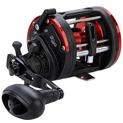 Sougayilang Trolling Fishing Reel, Level Wind Conventional Reel, Graphite Body, Durable Stainless-Steel, Large Line Capacity, Powerful Carbon Disc Drag-Right Hand