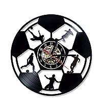 TIANZly Balón de fútbol Disco de Vinilo Reloj Hollow Negro Balón de fútbol Patrón de fútbol Regalo para los fanáticos del fútbol Estilo Creativo y Antiguo Reloj