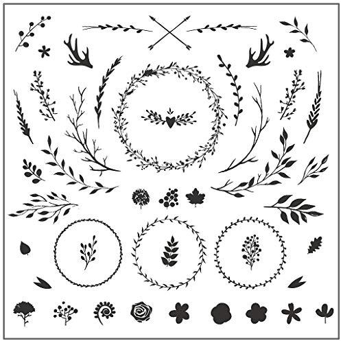 Koehope Clear Timbro Ghirlanda Foglie Fiore Trasparente Stamp per Natale Matrimonio Carta di Creazione Silicone francobollo DIY Scrapbooking Embossing Carta Decor