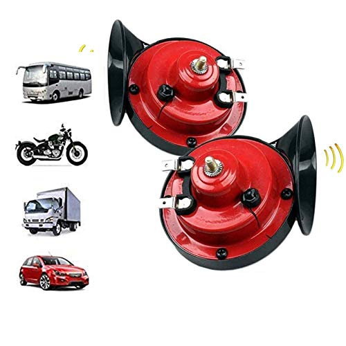 LINMETIC Super Train Horn for Trucks 12v Electric Snail Horn for Trucks, Cars, Motorcycle, Bikes & Boats, Waterproof Double Horn Raging Sound Pack of 2