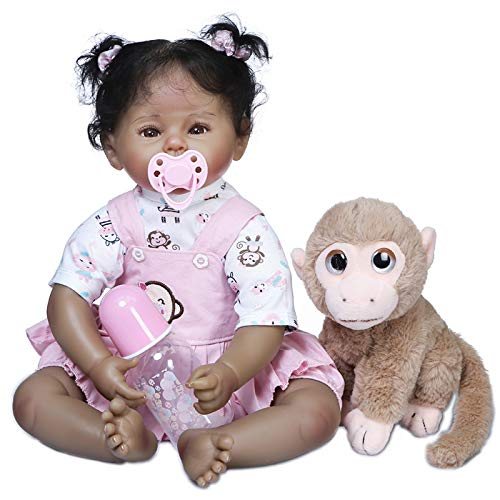 ROSHUAN 22inch Biracial Reborn Baby Dolls Tan Skin Realistic Lifelike Reborn Toddler Doll Black Girl African American with Monkey Toy Accessories for Kids Birthday Xmas Gifts Sets