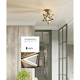 Pentagonal Heart Lanterns,Vintage Industrial Rustic Flush Mount Ceiling Light, Metal Pendant Lighting Lamp Fixture for Hallway stairway Interior Lighting 25cm*19cm (Color  C)