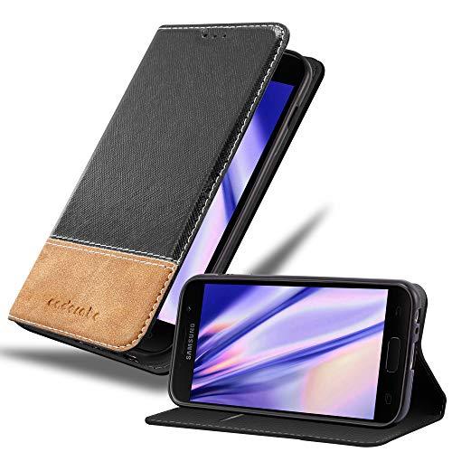 Cadorabo Hülle für Samsung Galaxy A5 2017 in SCHWARZ BRAUN – Handyhülle mit Magnetverschluss, Standfunktion & Kartenfach – Hülle Cover Schutzhülle Etui Tasche Book Klapp Style