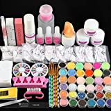 COSCELIA Acrylic Nail Kit with Acrylic Powder Liquid Glitter Powder French Nail Tips Brushes Manicure Tools for Nail Extension Professional Acrylic Nails Set