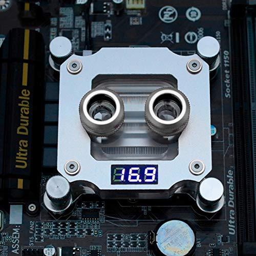Goshyda Bloque de refrigeración por Agua para CPU de computadora, Bloque de Agua, con Pantalla de Temperatura, para Intel