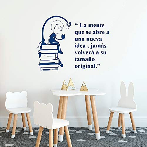 YuanMinglu Kinderzimmer Königin Kleiner Junge Lesebuch Spanisch Zitat Wandtattoo Dekor Kinderzimmer Haushalt Vinyl Wandaufkleber blau 103x80cm