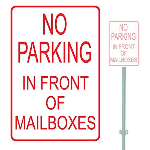 Lplpol Señal de advertencia de aparcamiento de aluminio resistente con texto en inglés 'No Parking In Front Of Mailbox', aluminio, 1 color, 12' x 18'