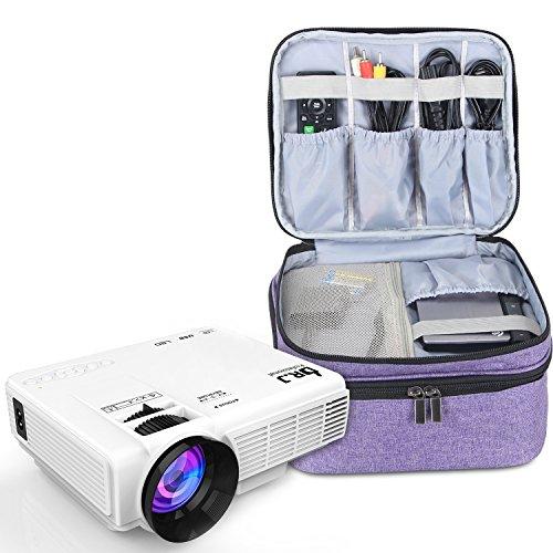 Luxja Beamertasche für Mini Beamer, Projektor Tasche Kompatibel mit APEMAN, QKK, DR.Q und Andere Mini- Beamer und Zubehör, 23 cm x 19 cm x 10 cm, Lila