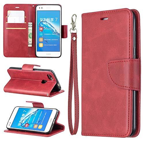 Cajas de flip Caso para Huawei P9 Lite Mini Mini Multifuncional Teléfono Móvil Caja de cuero Premium Color Sólido PU Caja de cuero, Titular de la tarjeta de crédito Función Función Caja plegable Caja