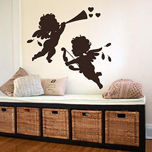 Tianpengyuanshuai Leuke baby muur decal baby kamer slaapkamer kinderkamer bruiloft decoratie vleugels schattige muursticker