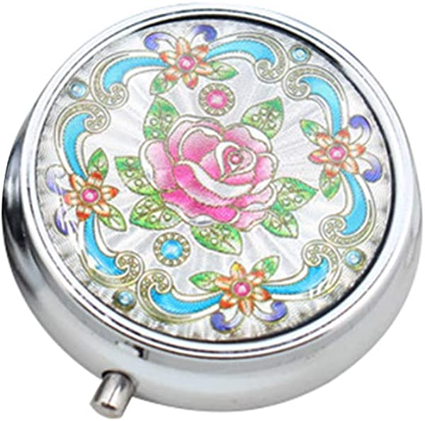 JYS365 Lightweight Portable Flower Printed Metal Round Ashtray Cigarette Rest Case With Key Ring