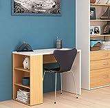 HOGAR24 Mesa Escritorio Estudio, Color Blanco y Roble Claro, de 100 cm x 50 cm x 75 cm
