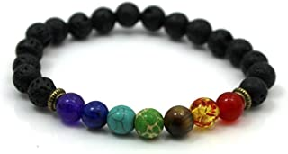 Niome 7 Chakra Healing Beaded Bracelet Natural Lava Stone Bracelet