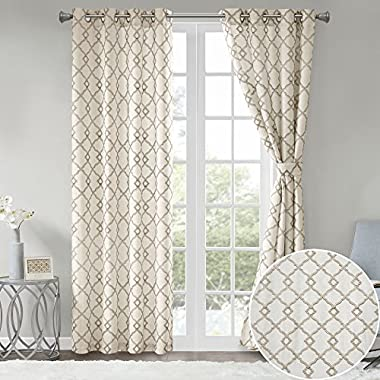 Comfort Spaces 2 Panel Curtains - Bridget Faux Linen Window Curtains 84 inch Length Grommet Top with Tie Backs - White/Taupe Fretwork Embroidery Design