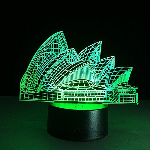 3D Luz Nocturna,Luz de noche de ilusión LED 3d, lámpara de escritorio de arquitectura de 7 colores que cambia la lámpara de escritorio de la lámpara de belleza