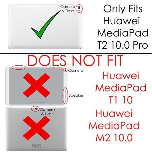 Forefront Cases® Huawei MediaPad T2 10.0 Pro Hülle Schutzhülle Tasche Smart Case Cover Stand - Ultra Dünn mit Rundum-Geräteschutz und intelligente Auto Schlaf/Wach Funktion - inkl. Eingabestift (ROT) - 4