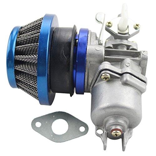 GOOFIT Carburatore Minimoto con Filtro Aria 44mm del Filtro Carburante Sostituzione per 2 Tempi 43cc 47cc 49cc Pit Bike Mini Quad ATV Scooter Blu