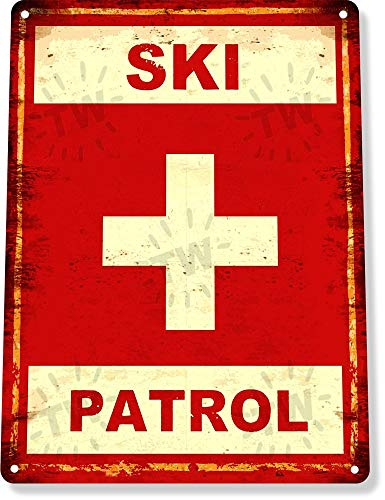 SIGNCHAT Plaque en métal B940 avec Inscription « Ski Patrol Ski Slopes Lift Lodge Resort Expert » 20,3 x 30,5 cm