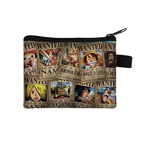 YUMEI Una pieza Luffy One Piece Anime Wallet Short Double Fold Wallet para hombres y mujeres Comic Kids Wallet