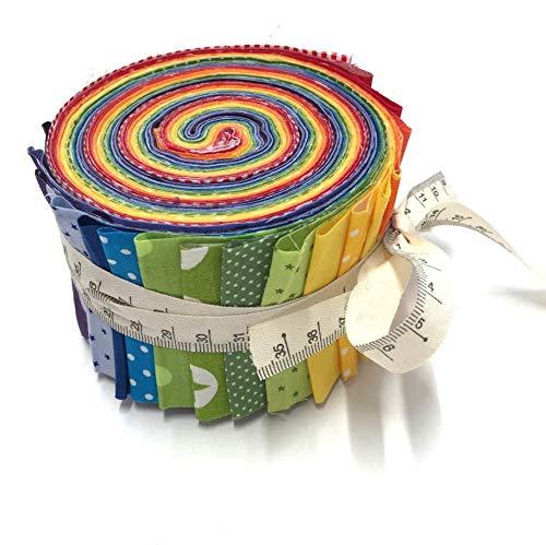 RosaliNum Jelly Roll Regenbogen - die Jelly Roll beinhaltet 20 Streifen à 2,5 Inch (=6,5cm) Breite und 135 cm Länge 100% Baumwolle 1m Dekoband mit Maßband-Druck