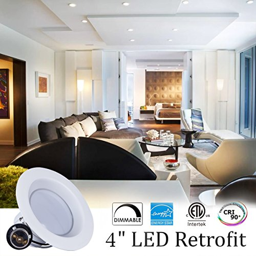 JJC 12 Pack Downlights Retrofit LED Recessed Lighting 4 Inch Dimmable 2700K 10W(75W Equiv.)700LM,Energy Star ETL-Listed