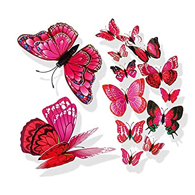 Wociaosmd Butterfly Sticker, 3D DIY Pin Type Home Decor Butterfly Curtain Dress Decorate Accessory 12PCs (Hot Pink)