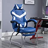 Silla Gaming Ergonomica Para Ordenador Cuero De PU 4D Reposabrazos Respaldo Reclinable Silla De Juego Silla De Carreras,Azul