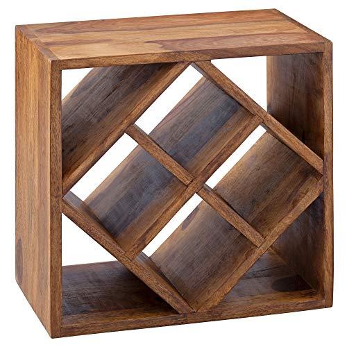 FineBuy Weinregal Massiv-Holz 40x40x25 cm klein stehend | Design Flaschenregal für die Küche | Standregal schmal für 8 Flaschen