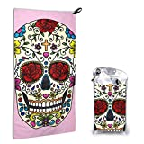 N/A Sugar Skull Quick Dry Hand Towels with Carabiner with Absorbent Pouch and Quick Dry Sports...