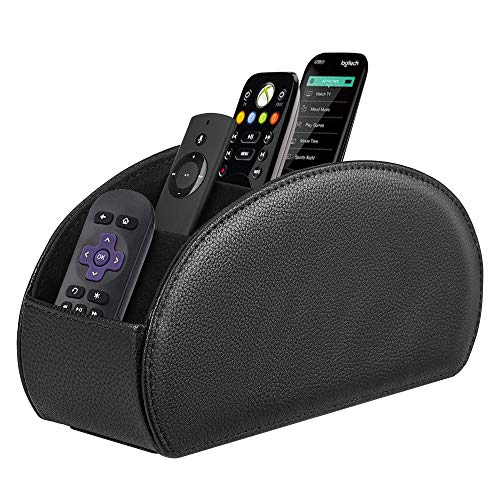 Fintie Remote Control Holder, Vegan Leather TV Remote Caddy Desktop Organizer 5 Compartments Fits TV Remotes, Media Controllers, Office Supplies, Makeup Brush, Black