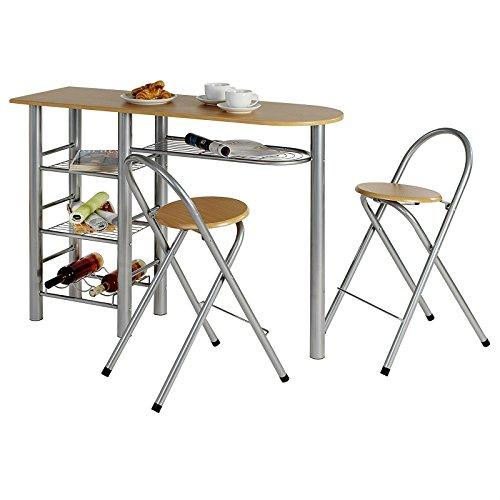 IDIMEX Ensemble Style avec Table Haute de Bar Mange-Debout comptoir avec 3 étagères et 1 Porte-Bouteilles et 2 chaises/tabourets avec Dossier, Table et Assise en MDF Couleur hêtre Structure en métal