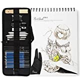 Lightwish 34 Pieces Art Supplies Sketch Set with Graphite Pencils, Pastel Pencils, A4 Size Sketchbook, Drawing Glove, Paper Erasable Pen and Zippered Carry Case