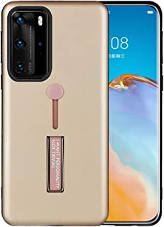 LENASH För Huawei P40 Pro Olja Känn Shocksäker TPU + PC Skyddsväska med hållare Fallskydd (Color : Gold)