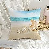 Funda decorativa para almohada cuadrada, perla, paisaje de verano, visita a la playa, Cancún, México, día, agua, naturaleza, ocio, texturas, tomar el sol, funda de almohada para sofá, decoración de s