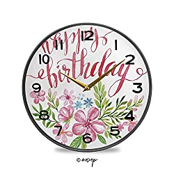 PUTIEN Round Wall Clock, Flower Bouquet Design Watercolor with Hand Writing Vintage Wall Clocks Battery Operated Kitchen/Home/School Patio Decor 9.5