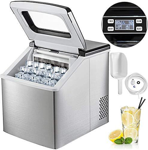 YXZQ Eismaschine Edelstahl 220V Eiswürfelmaschine Maschine 40LBS Eismaschine Arbeitsplatte Eismaschine Kompakte klare Eiswürfel für Küche Home Bars