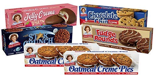 Little Debbie Cookie Variety Pack, 2 Boxes Of Oatmeal Creme Pies, 1 Box Of Fudge Rounds, 1 Box Of Chocolate Chip Creme Pies, 1 Box Of Star Crunch, 1 Box Of Jelly Creme Pies