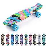 meteor Monopatín Retro plástico Skateboard Completo Patineta para Niños Jóvenes Adultos Mejor Calidad Robusto Ligero Ruedas - Buen Regalo (Colors)