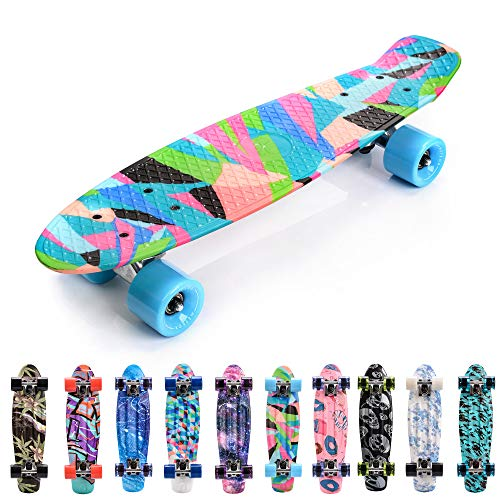 meteor Skateboard Kinder - Mini Cruiser Kickboard - Skateboard mädchen Rollen Board - Kunststoff Skateboards Deck - Retro Skateboard Jungen Mini Board - Skateboard Kinder miniboard (Colors)