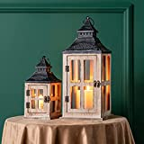 DECORKEY Decorative Candle Lantern, Pack of 2 Wood Metal Hanging Lantern, Rustic Tabletop Lantern, Candle Holders for Outdoor Patio Farmhouse Decor( 17'&11')