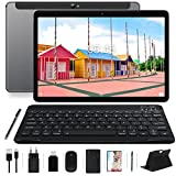 MEBERRY Tablet 10 '' HD IPS WiFi + Cellular 4GB RAM + 64GB ROM Android 10.0 Ultra-Rápido Tableta, Google GMS | Dual SIM & Dual Cámara(5MP + 8MP) | 8000mAh | Bluetooth | GPS, Teclado & Ratón - Gris