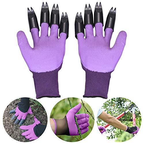 Gartenhandschuhe mit Krallen, Senbos Garden Genie Handschuhe mit Krallen Einerseits zum Graben Pflanzen Gartenarbeit Unkraut Jäten Samen und Nägel schützen, Geschenk für Gärtnerinnen Männer