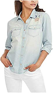 Faded Glory Women's Denim Boyfriend Woven Embroidered Button Down Shirt, Lite Washed (Small)