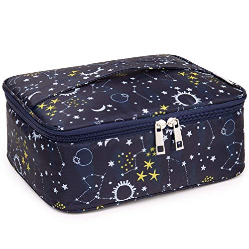 Travel Makeup Bag Large Cosmetic Bag Make up Case Organizer for Women and Girls (Blue Galaxy)