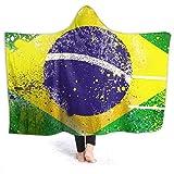 Cool Retro Brasil Flag Manta con Capucha para Hombre Súper Suave 50 'x40 Manta de Franela con Capucha Manta usable Traje con Capucha para Adultos y niños, Manta usable con Capucha
