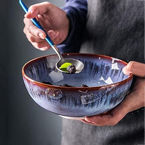 fenglei Juego de cuencos de cereales Tazón Creative Gradiente Azul 7.5 pulgadas Ramen Bowl Japonés Cerámica Tazón de sopa Vintage Ensalada Fruta Bowl Desayuno Tazón Hogar Vajilla Pasta Bowls