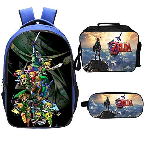 Qushy Legend of Zelda Backpack Lunch Box Pencil Case Outdoor Package (D)