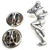 Rugby Player fabriquéà la main en étain massif au Royaume-Uni Pin's (épinglette Badge + 59MM Bouton Badge + Sac cadeau