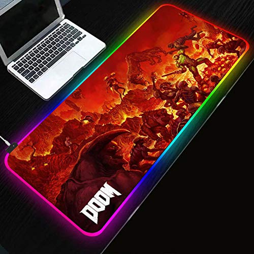 Desk Pads Anime Game Doom Gaming Mouse Pad LGB LED Glow Extended Large Mouse Mat Stitched Edges Skid Proof Rubber Base Mouse Keyboard Desk Mat for Computer Laptop,35.4×15.7 Inches